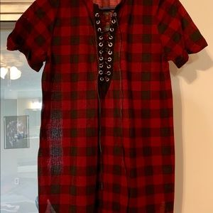 Women's Size Large Plaid Tunic Top by Urban Girl